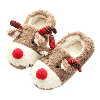 a13086537 LQZ Women Warm Slippers Fluffy House Cute Animal Winter Slip On Shoes (EU  38)