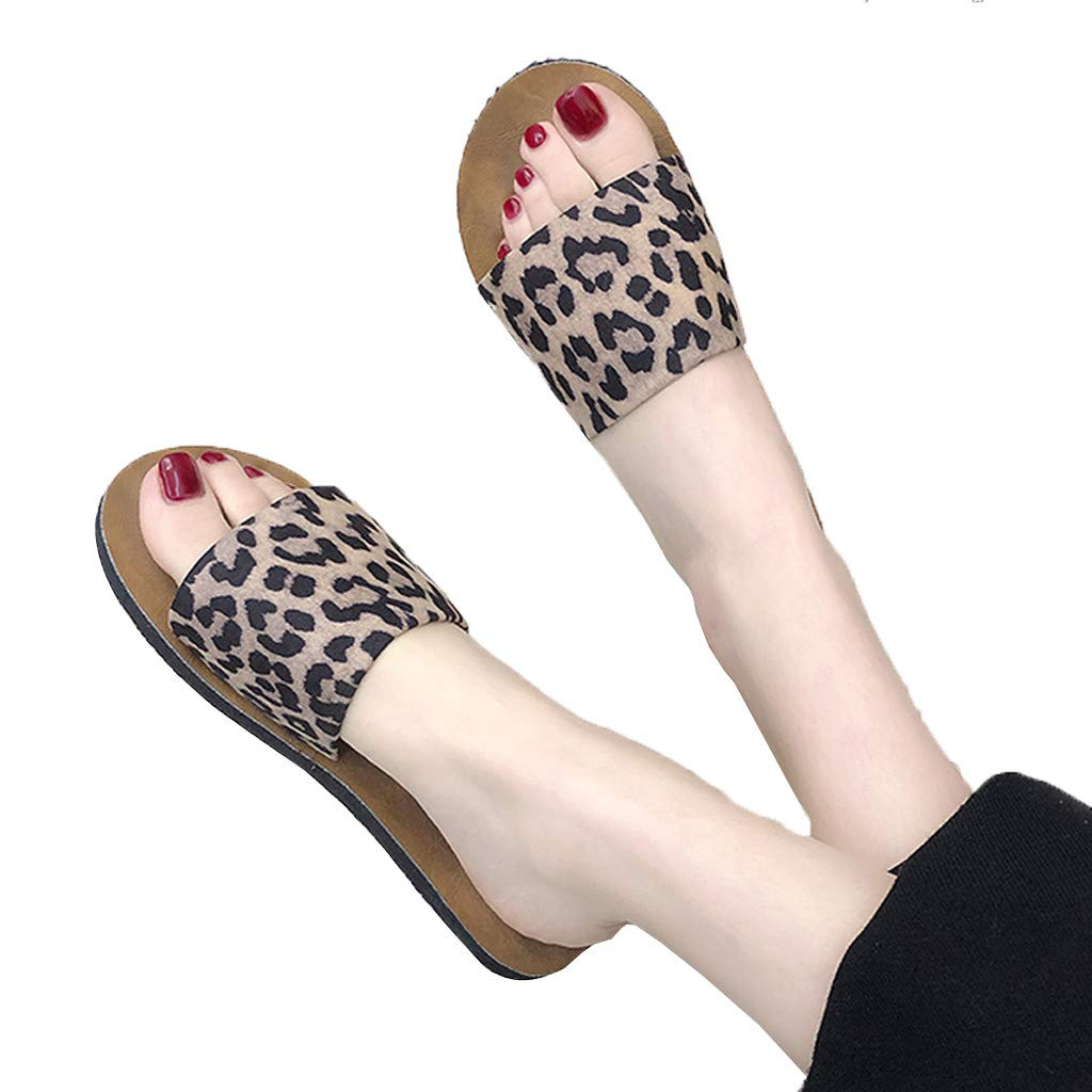 2019 Hot Women's Leopard Flat-Bottomed Slippers Open-Toe Fashion Summer Shoes Beach Shoes (Brown, 7)