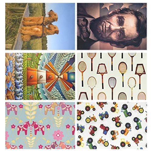 YOULUCK-7 Placemats Set of 6, 2 Airedale Terrier Dog Abraham Lincoln USA Flag Abstract Windmill Vintage Tennis Racquet Wooden Dala Horses Tractors Dining Table Mats for Home Kitchen Office