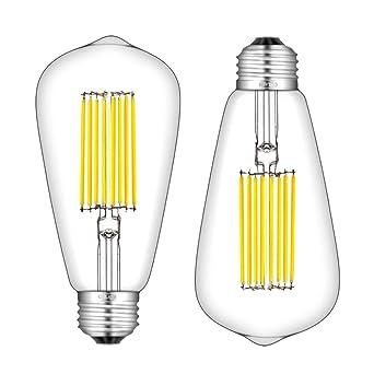CRLight - Bombilla LED Edison regulable E26 de base media ST64 Vintage LED Bombillas de filamento