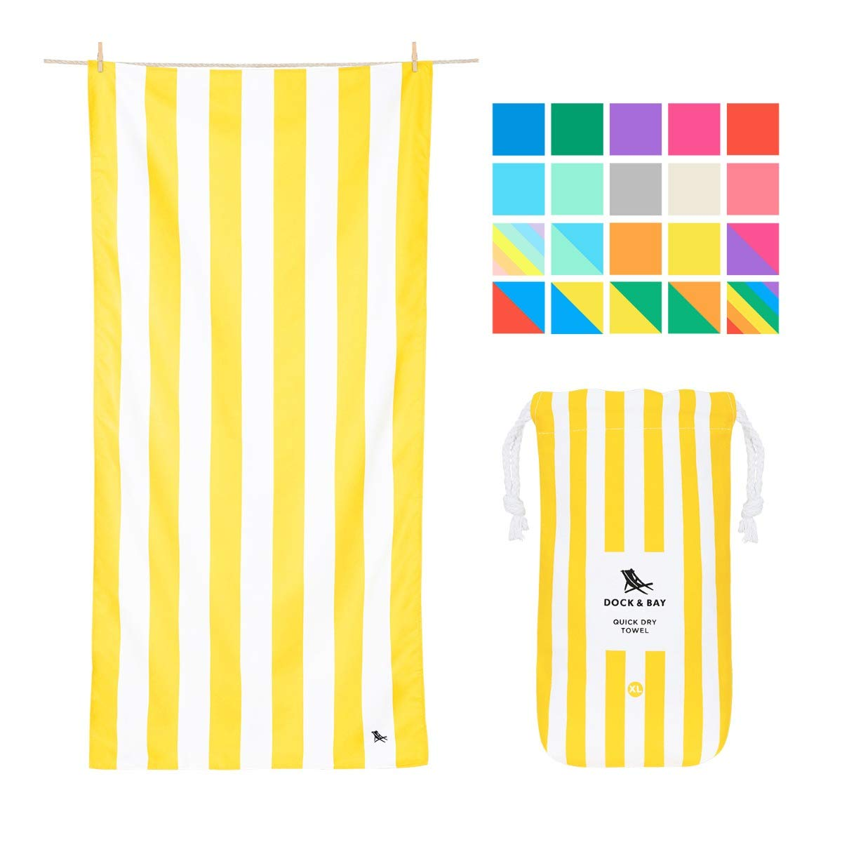Microfibre Striped Oversized Beach Towels - Boracay Yellow, Extra Large (200x90cm, 78x35) - XL Compact Towel, Fast Drying, Beach Umbrella mat