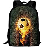 Markui Adult Travel Hiking Laptop Backpack Burning Football School Multipurpose Durable Daypacks Zipper Bags Fashion