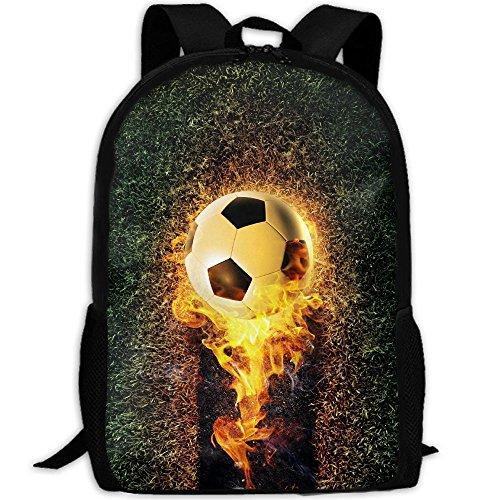 Markui Adult Travel Hiking Laptop Backpack Burning Football School Multipurpose Durable Daypacks Zipper Bags Fashion by Markui
