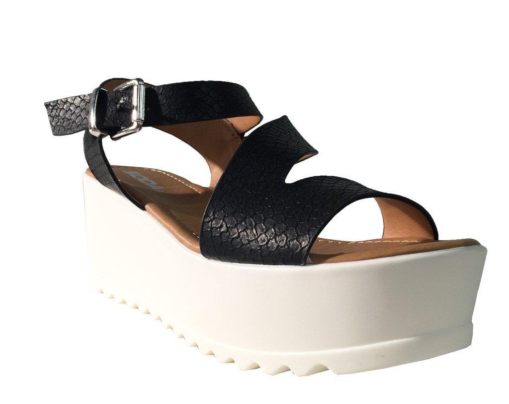 UNVEIL! Women's Open Toe Retro Cross Strap Lug Sole Platform Wedge Sandals B01FYBMJOE 7 B(M) US|Black Snake Leatherette
