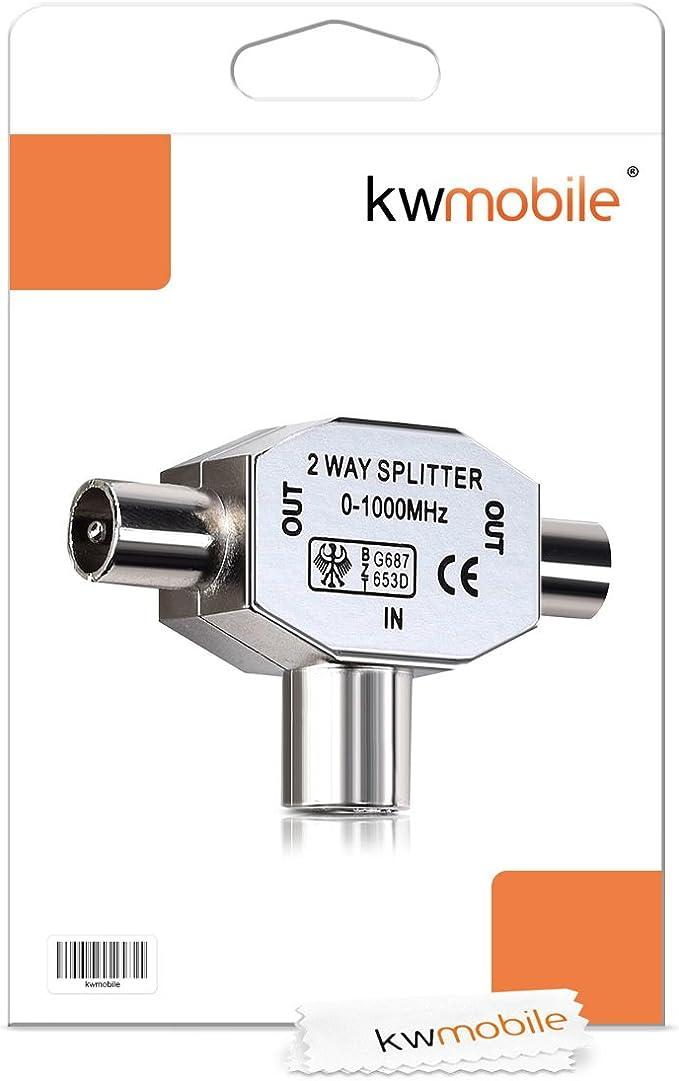 kwmobile Distribuidor de Antena bidireccional - T Splitter de 0 a 1000 MHz para DVB-T/BK - Acoplamiento con 2 Conectores coaxiales
