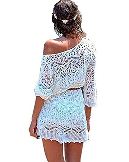 4814a70ebf5d Minetom Mujere Elegante Boho Encaje Crochet Bikini Cubrir Cover Up Blanco  Ganchillo Hueco Playa Vestido Pareos Traje De Baño