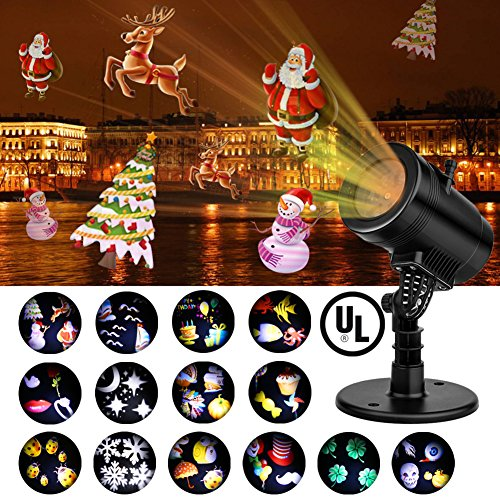Christmas Projector Light , Party LED Projector Lights Switchable Slides/14 Patterns Decorative Light for Halloween Thanksgiving Holiday,4 Speed Modes, IP65 Waterproof, Timing Function,Thermal Module