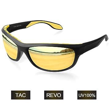 Elegear Gafas de Sol Deportivas Hombre Polarizadas Anti Rayos UVA UV Marco y TR90 Lente Espejo con REVO Anti Aceite Gafas Hombre y Mujer Bici Running ...