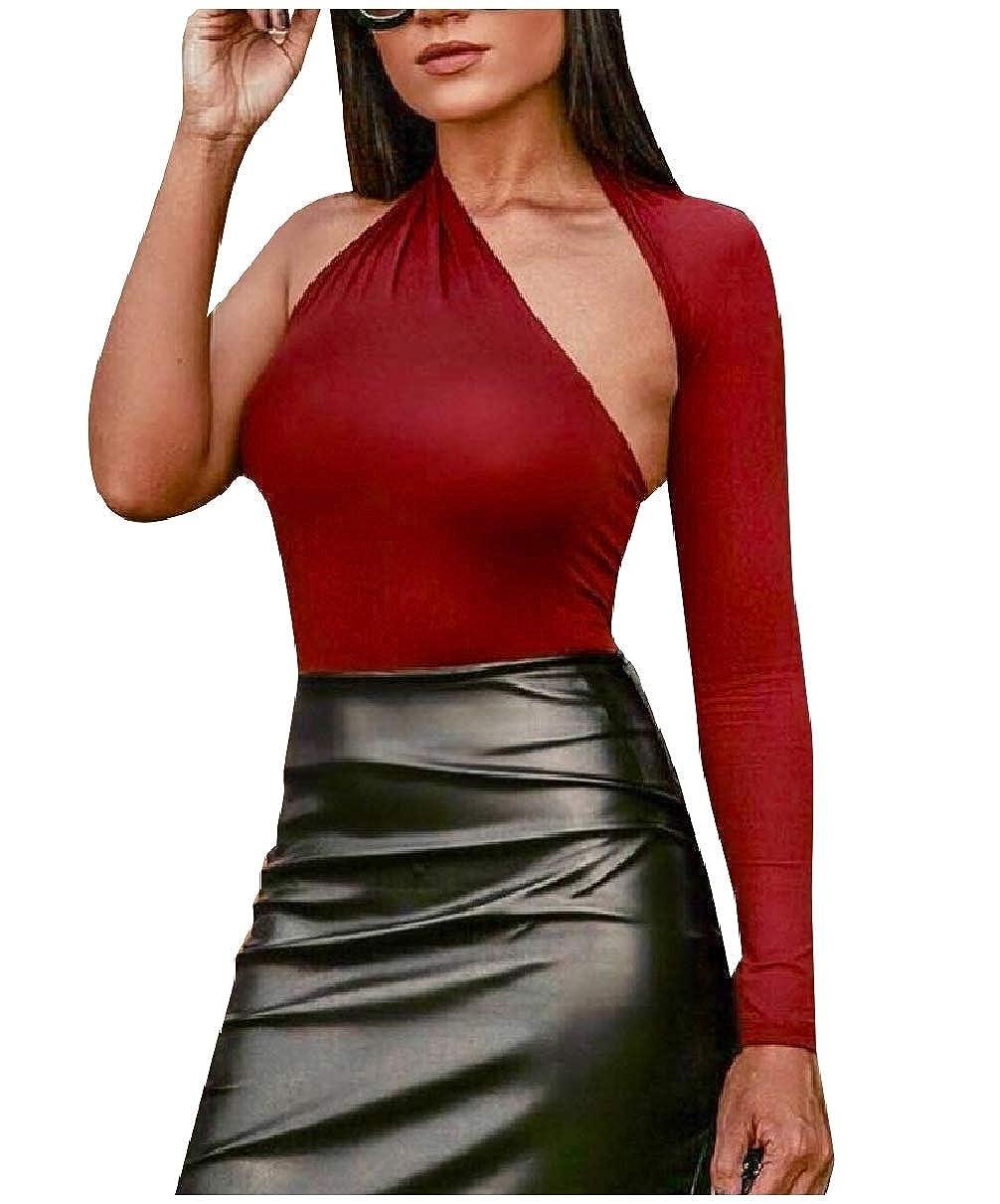 FieerWomen Bodysuit Bodycon Top One Shoulder Stretch Jumpsuits Rompers