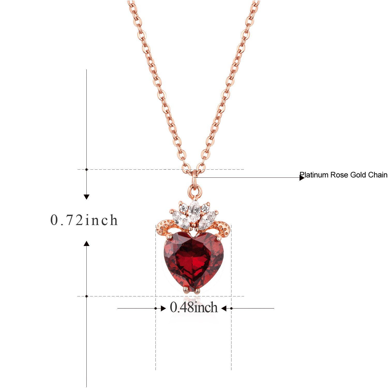 Vinjewelry Queen of Heart Rose Gold Plated Pendent Crown Design 5A Zircon Gift for Women vtsNBvEO