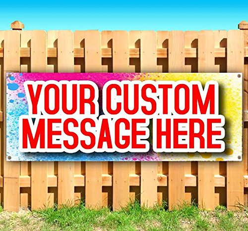 (CUSTOM DESIGN 13 oz heavy duty vinyl banner sign with metal grommets, new, store, advertising, flag, (many sizes)
