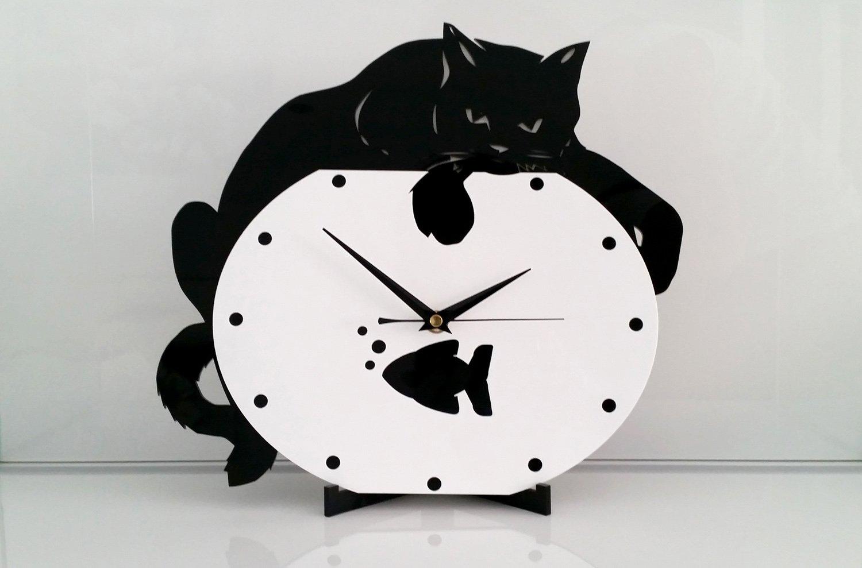 Reloj de pared Gato en pecera, moderno, metacrilato, silencioso: Amazon.es: Hogar