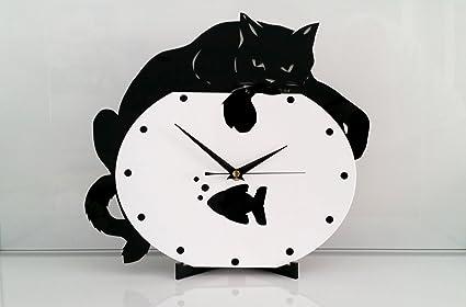 Reloj de pared Gato en pecera, moderno, metacrilato, silencioso ...