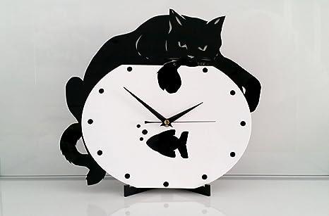 Reloj de pared Gato en pecera, moderno, metacrilato, silencioso