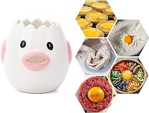 Egg Separator, Upgrade Egg Yolk White Separator, Food Grade Ceramics Egg Sperator Tool for Kitchen Gadget Cooking Baker Tool, Egg strainer, Mayonnaise etc (Pink)