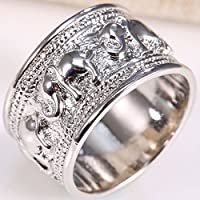 Na Na Nubngen Siam panva Fashion Jewelry Women 925 Silver Care Elephant Printing Silver Ring Size 6-10 (9)