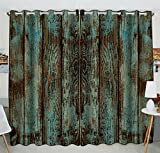 Custom Wood Printed Window Curtain,Vintage Rustic Old Barn Wood Printed Grommet Blackout Curtain Room Darkening Curtains Bedroom Kitchen Size 52(W) x 84(H) inches (Two Piece)