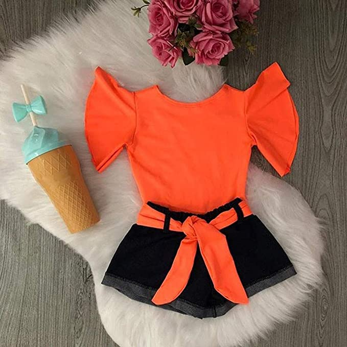 RYGHEWE Infant Baby Girl Off Shoulder Fly Sleeve Solid Ruffles Tops+Shorts Outfits Clothes 2Pcs Set