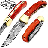 "Orange Wood 6.5"" Handmade Damascus Steel Brass Bloster Folding Pocket Knife Back Lock 100% Prime Quality"