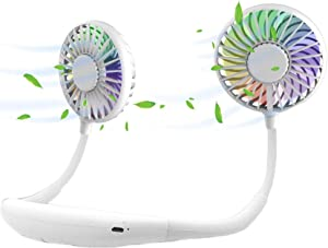 scurry Upgraded Version Portable Neck Fan, Color Changing LED, with Aromatherapy, 360° Free Rotation,and Lower Noise Strong Airflow Headphone Design for Sport, Office, Home, Outdoor (White)