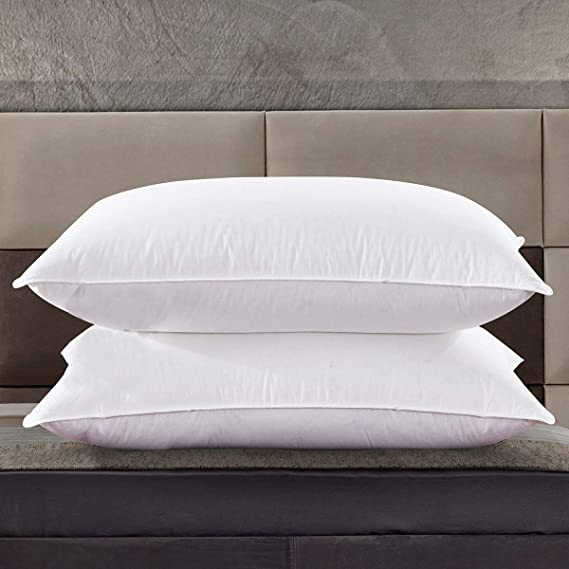 Zingsleep Goose Down Pillow,1200TC Egyptian Cotton Cover,Three Chambers Design (2 Pack,Queen Soft),Bed Pillows for Sleep,Hypoallergenci,White. (Set of 2)