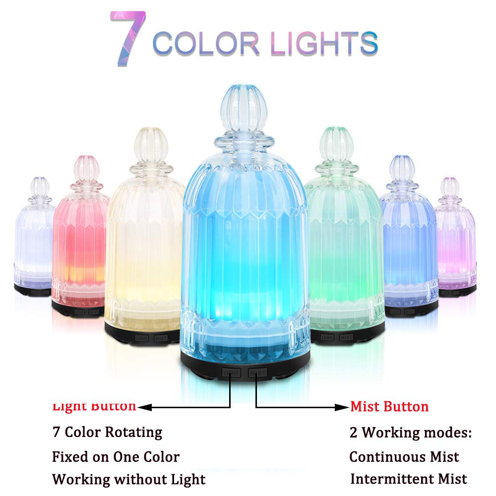 COSVII Electric Ultrasonic Glass Essential Oil Diffuser Perfume Bottle Design, 120ml Portable Small Aromatherapy Air Humidifier, Auto Shut-off, Quiet Operation, 7-color LED Lights