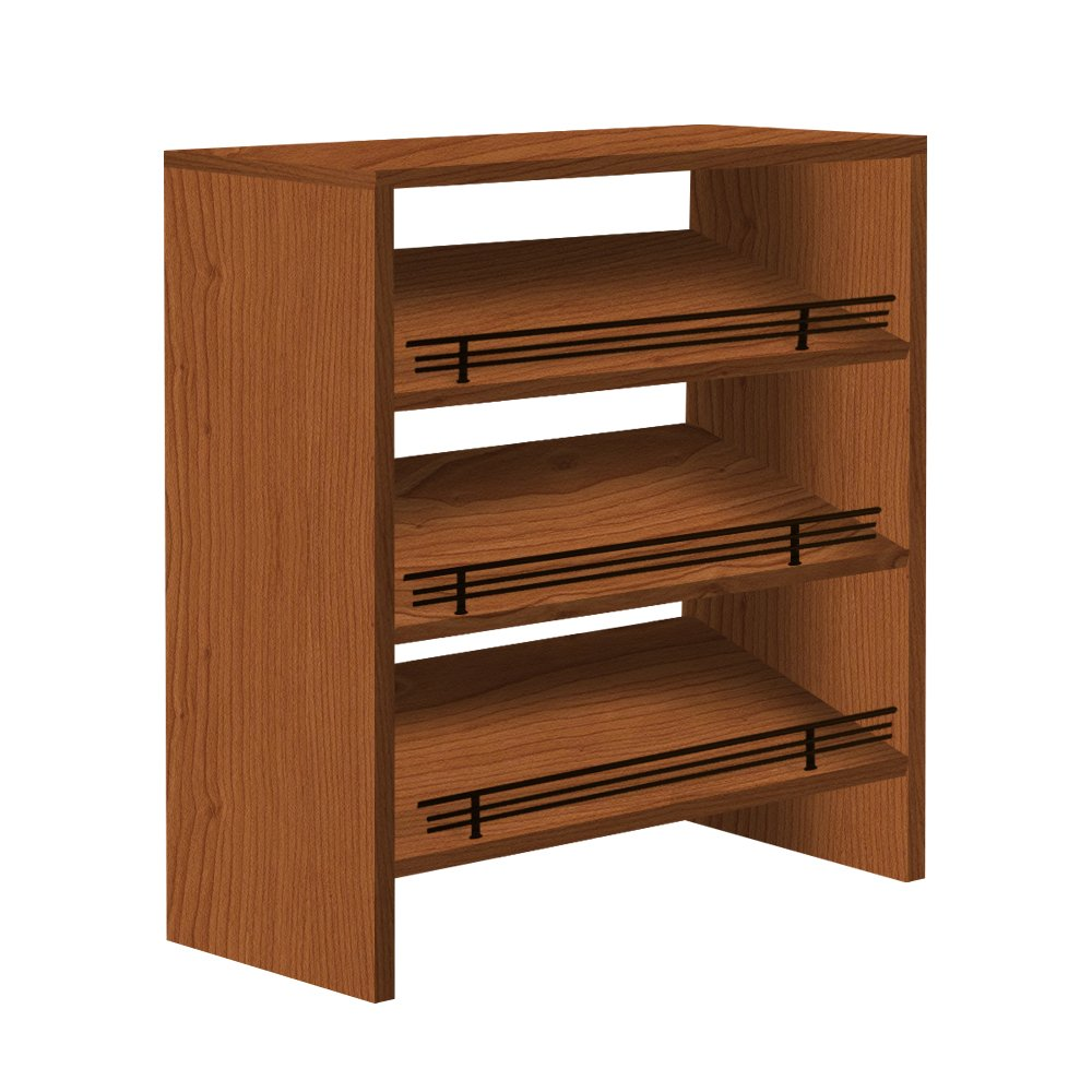 Shoe Organizer in Melamine Color Royal Cherry With Fence Dark oil rubbed bronze, 12''Depth x 38''Width x 22''Height
