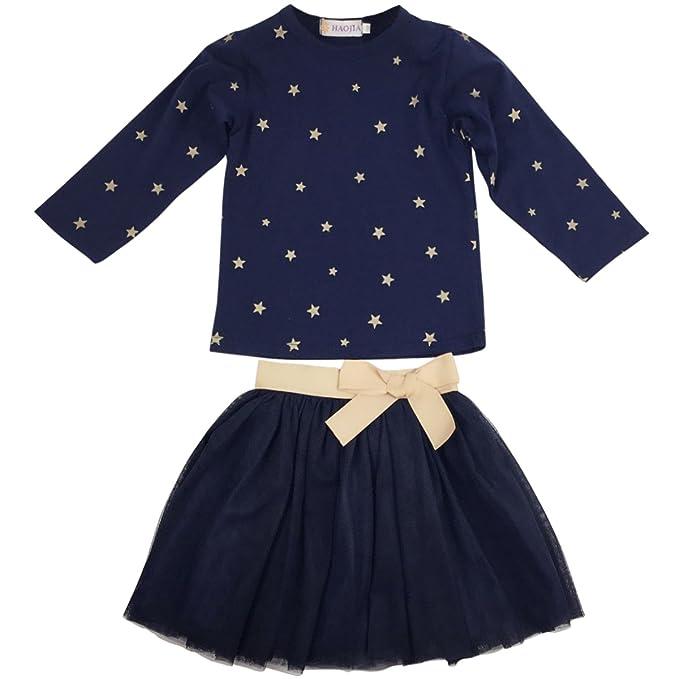 1d01ed6f56 Jastore Girls Blue Cartoon Clothing Sets Long Sleeve Top+Tutu Skirt Kids  Clothes (6T