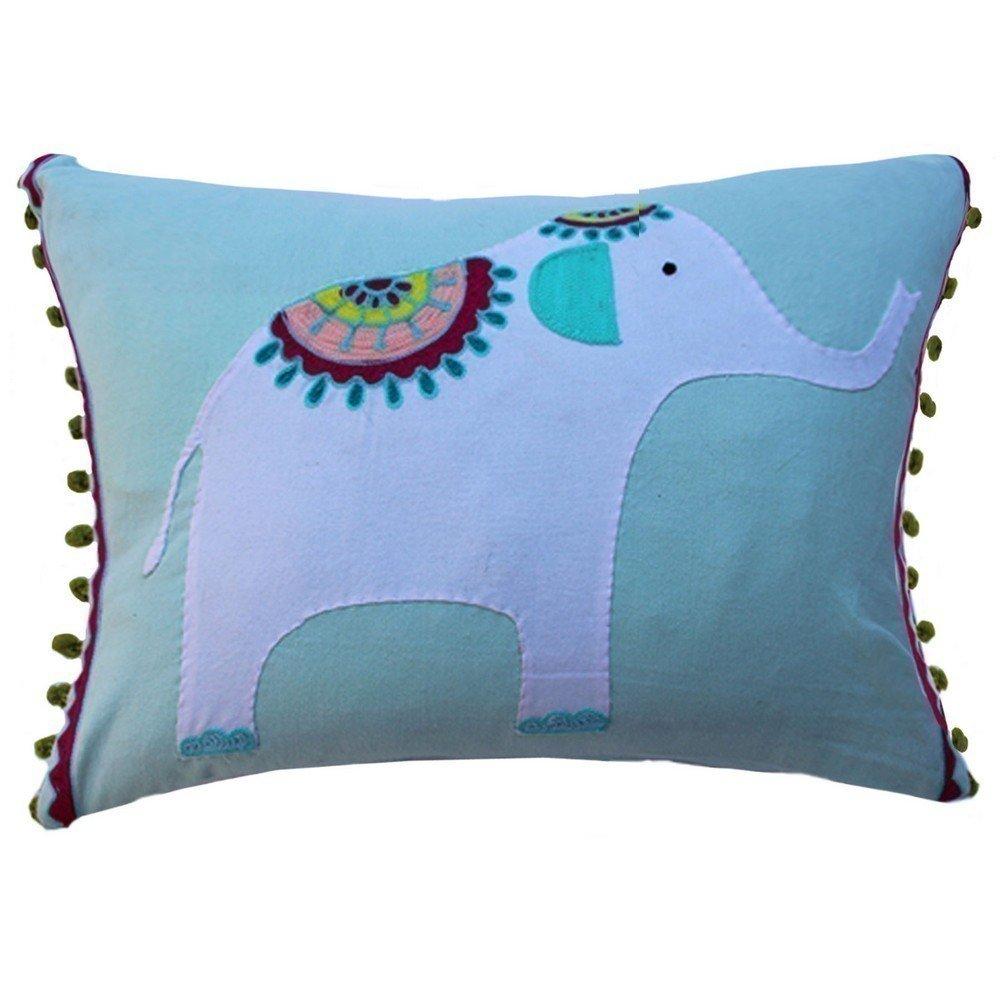 Vivai Home Turquoise Elephant Applique Rectangle 12x 16 Feather Cotton Pillow