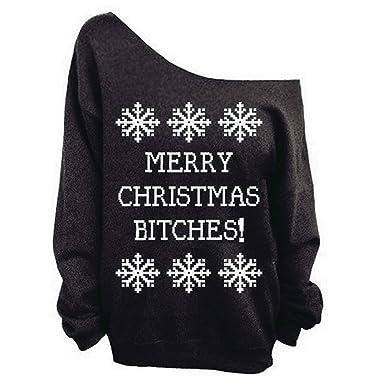 Christmas Sweatshirt Women Letter Snowflake Printed Hoodies Sexy Off Shoulder Pullover,Black,S