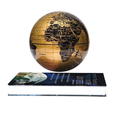 "ETE ETMATE 6"" Magnetic Floating Levitation World Map Globe Book Style Base Auto-Rotation Changing LED Induction Light in Globe for Children Educational Corporate Gift Home Office Desk Decoration,Gold: Office Products"