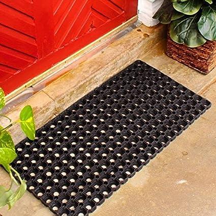 vansh trade Rubber Zoom Door Mat (18x30, Black)