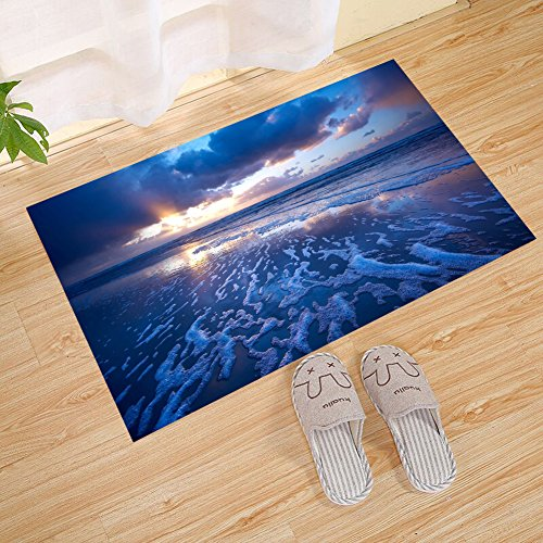 - JANNINSE Blue Sunset Beach Romantic Large Doormat, Outdoor Indoor Rug For Terrace, Kitchen Bathroom, Water Absorption, Garage, Patio, Busy Traffic Area