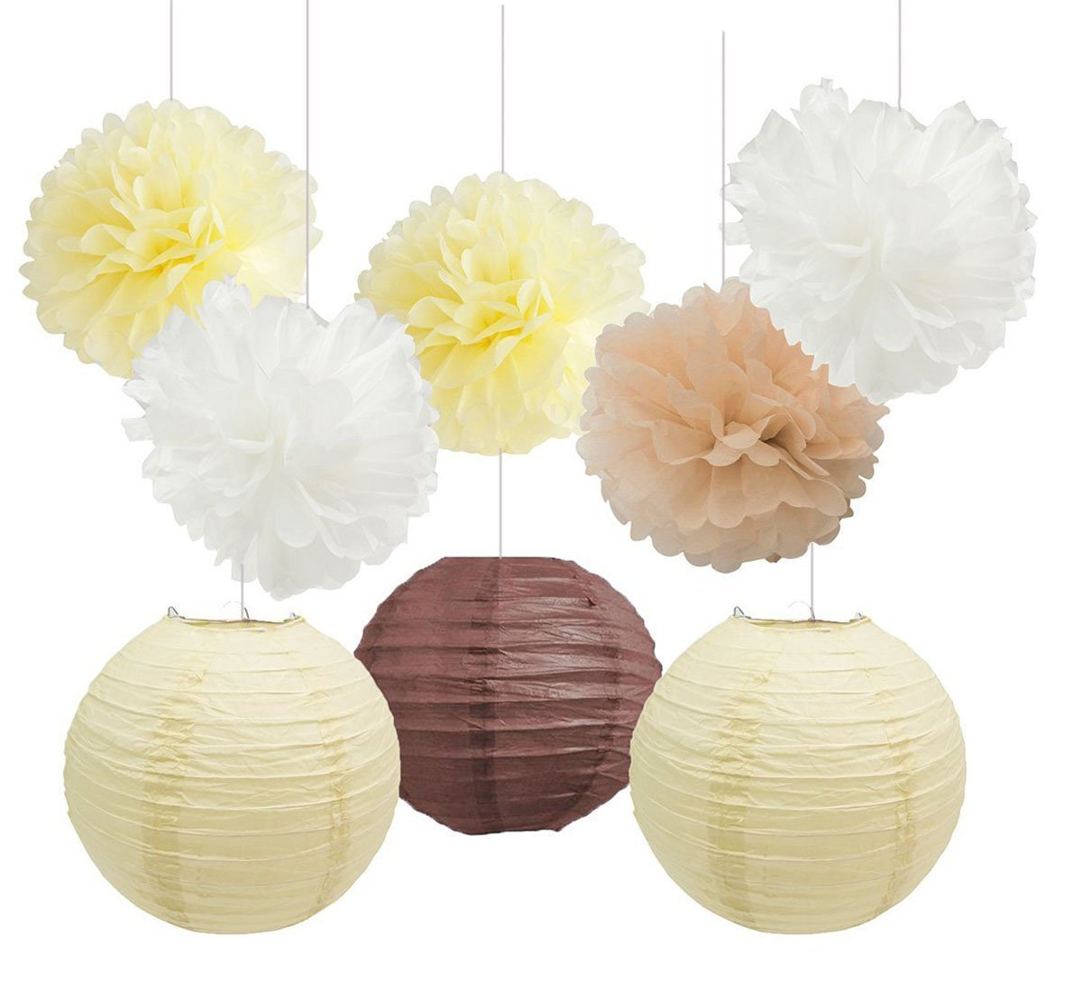 Furuix Brown Cream White Tissue Paper Pom Pom Paper Lanterns for Rustic Wedding Decoration Party Decoration Kit for Baby Shower Room Decoration Paper Craft   B01NACLYM2