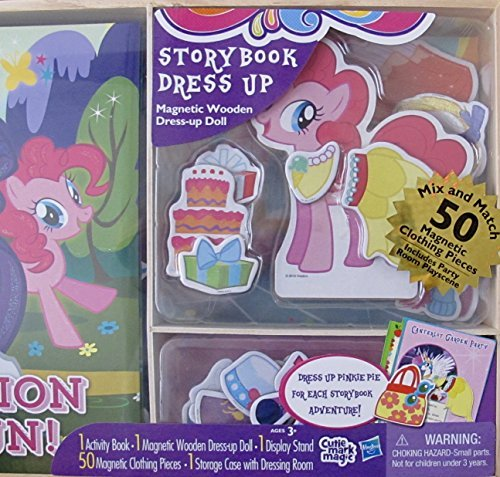 My Little Pony Hasbro Activity Storybook & Dress Up Magnetic Wooden Pinkie Pie Pony Doll, Story Book, Magnetic Wooden Dress Up Pinkie Pie Pony, 50 Magnetic Clothing Pieces & Storage CASE (2015)