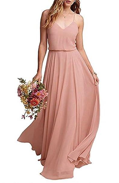 81ab8fd1a9e YuNuo Bridesmaid Dresses Chiffon Long Spaghetti Straps Prom Dress A-Line  Simple Wedding Party  Amazon.ca  Clothing   Accessories
