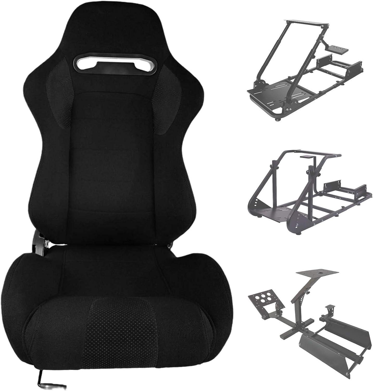 Minneer Racing Bucket Seat with Adjustable Slide Fit Racing Wheel Stand All Metal Parts (Racing Wheel Stand Not Include)