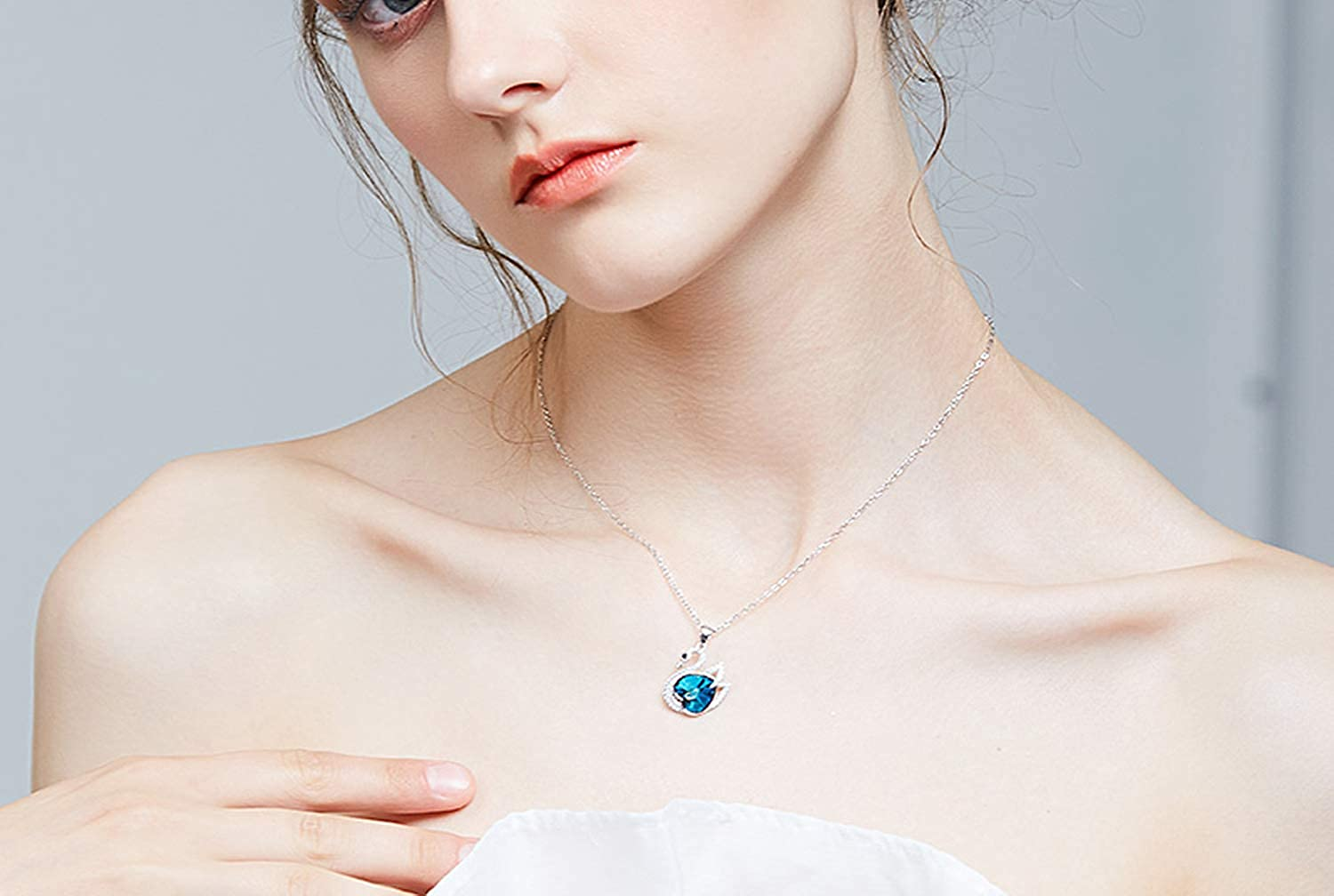 Crystal from Necklace Jewelry Women S925 Sterling Silver swan Necklace Jewelry Fashion Fine Gift Valentines Day,Photo Color