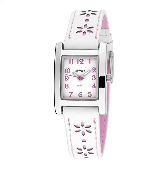 Reloj Nowley niña, Correa de piel sintética color blanco y motivos en rosa