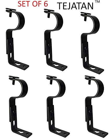 Adjustable Curtain Rod Brackets   Black (Set Of 6) (Also Known As