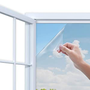 Rhodesy One Way Mirror Window Film, Anti UV Heat Control Static Cling Privacy Window Film Decorative Removable Window Tint Sun Blocking, 35.4 x 78.7 inch, Silver