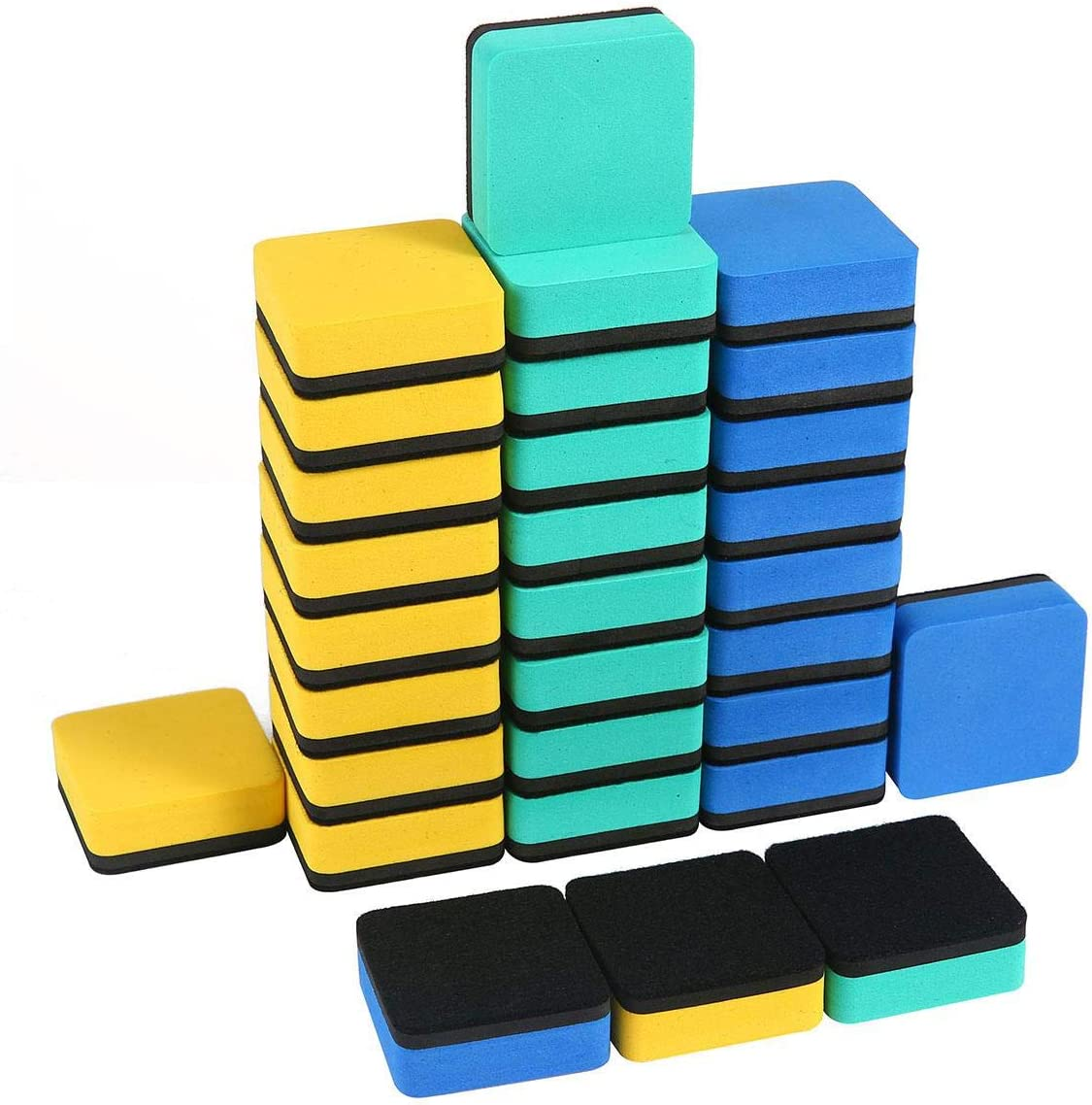 Magnetic Dry Eraser Aolvo 30 Packs Chalkboard Eraser Bulk Mini Whiteboard Eraser Dry Erase Board Eraser For Kids Students Teachers At Classroom School Office Home 2x2 Inch 3 Colors Amazon Ca Office Products