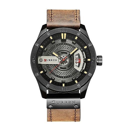 CURREN 8301 Top Brand Luxury Watch Men Date Display cuero creativo cuarzo relojes de pulsera de café: Amazon.es: Relojes