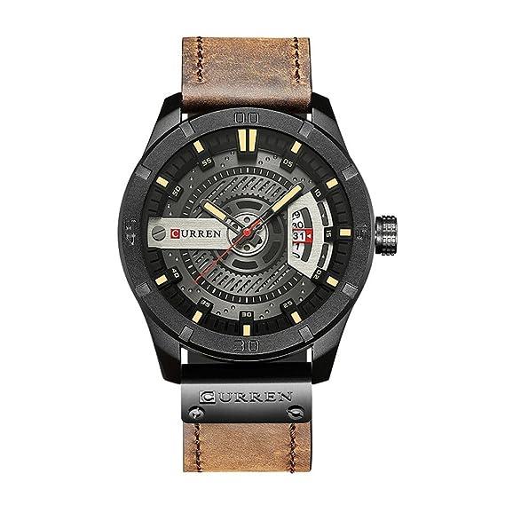CURREN 8301 Top Brand Luxury Watch Men Date Display cuero creativo cuarzo  relojes de pulsera de café  Amazon.es  Relojes 9b27311874b