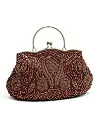 TopTie Beaded Flower Clutch, Large Handbag, Gift Idea