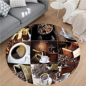"""Nalahome Modern Flannel Microfiber Non-Slip Machine Washable Round Area Rug-ferent Photos of Coffee Mugs and Roasted Bean Bags Grinder Sugarcubes Collage Brown White area rugs Home Decor-Round 59"""""""