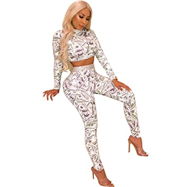 cbd5395c6a7 Womens 2 Piece Outfit Long Sleeve Crop Tops High Waist Leggings Casual Sport  Bodycon Tracksuit Set