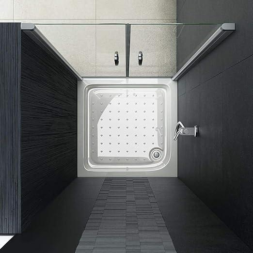 vidaXL Mampara Ducha Frontal 2 Puertas Pivotante Cristal Seguridad Vidrio Templado ESG Aluminio Cabina Baño Transparente Cierre Plato Bañera 70x185 cm: Amazon.es: Hogar