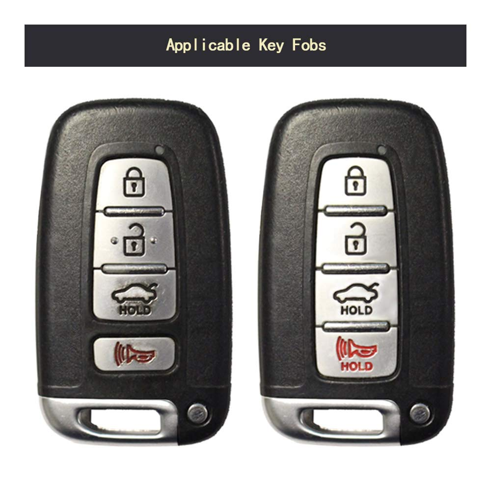 TANGSEN Key Fob Case for Hyundai Azera Elantra GT EQUUS Genesis Coupe Santa FE Sonata Tucson Veloster KIA Borrego Forte Sorento Soul SPORTAGE 4 Button Keyless Entry Remote Carbon Fiber Black Cover