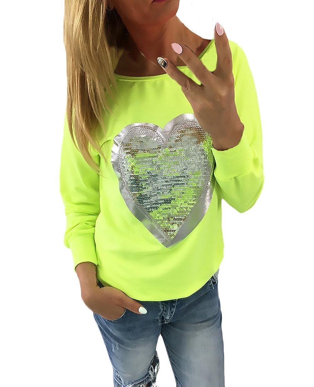 cd296b1c88b6 Adelina Damen Langarmshirt T Shirt Herbst Winter Tops Basic Elegant Glitzer  Herzförmig Pailletten Bluse Frauen Rundhals Große Größen Oberteile Festlich  ...